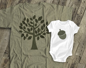 matching dad and baby shirts fathers day shirts acorn tree t-shirts for dad and kids and baby gift set - great Father's Day gift  MDF2-018N