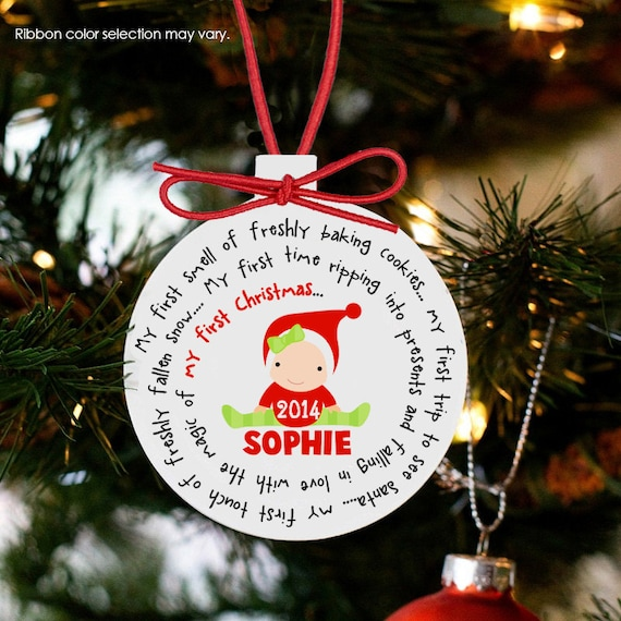 Babys First Christmas Ornament Personalized For A Girl Or Etsy