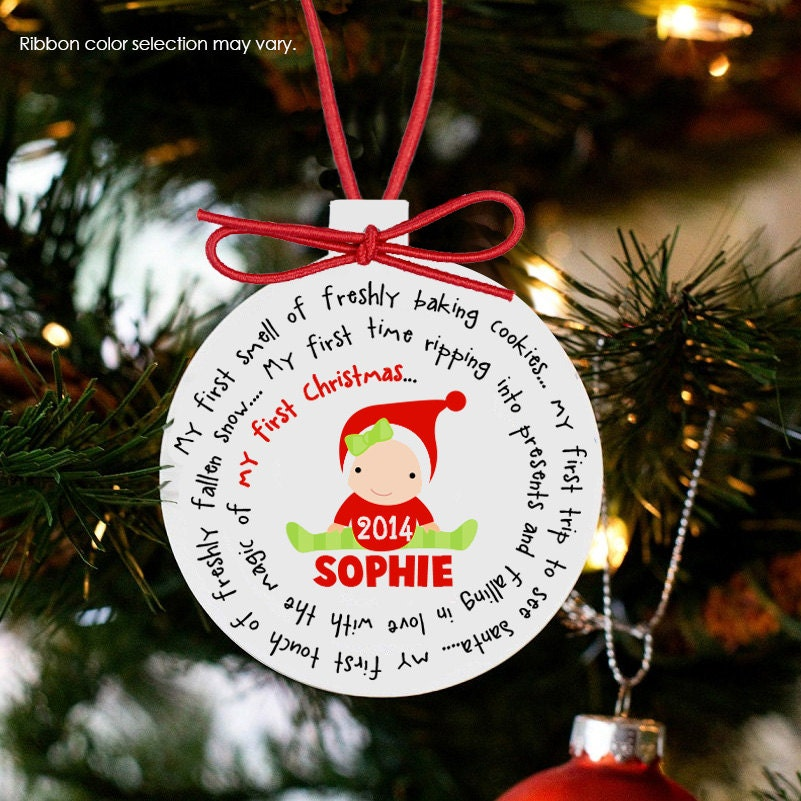 Baby S First Christmas Ornament Personalized For A Girl Or