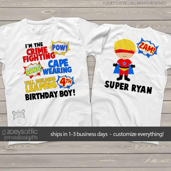 Superhero Birthday Shirt Fun Comic Book Look Theme
