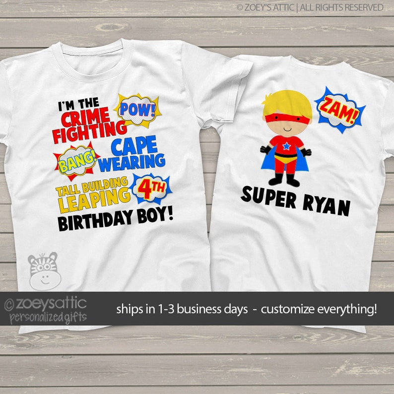 Superhero Birthday Shirt Fun Comic Book Look Theme
