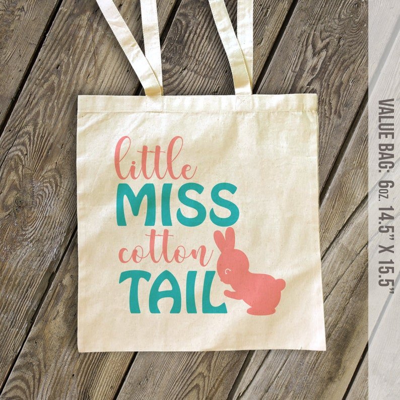 Easter tote bag little miss cotton tail easter bag choose value or heavyweight tote SNLE2-004bag