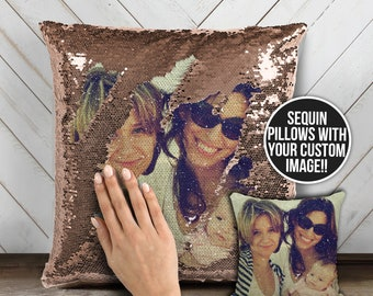 Family photo sequin pillow   custom image reversible sequin mermaid pillowcase   mothers day or birthday decorative pillow gift  MSPC-015
