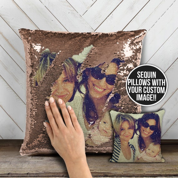 Family photo sequin pillow | custom image reversible sequin mermaid pillowcase | mothers day or birthday decorative pillow gift MSPC-015