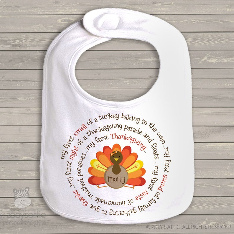 baby/'s first thanksgiving bib adorable my first turkey day baby bib for boy or a girl SNLF-020-b