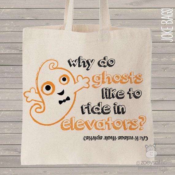cute halloween trick or treat bag GHOST joke bag