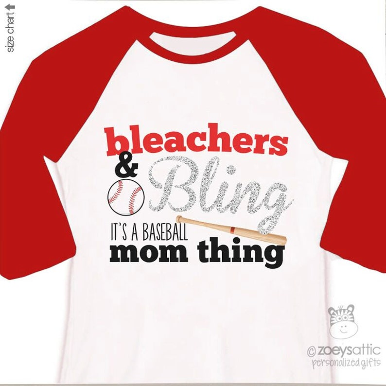 e5b1b94a3aa28 Bleachers and bling baseball mom thing sparkly colorblock ADULT raglan  baseball shirt - great gift for birthday or Mother's Day