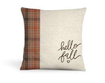 hello fall throw pillow   plaid autumn colors fall home decor throw pillowcase pillow   great autumn housewarming gift pillow pil-214-thw