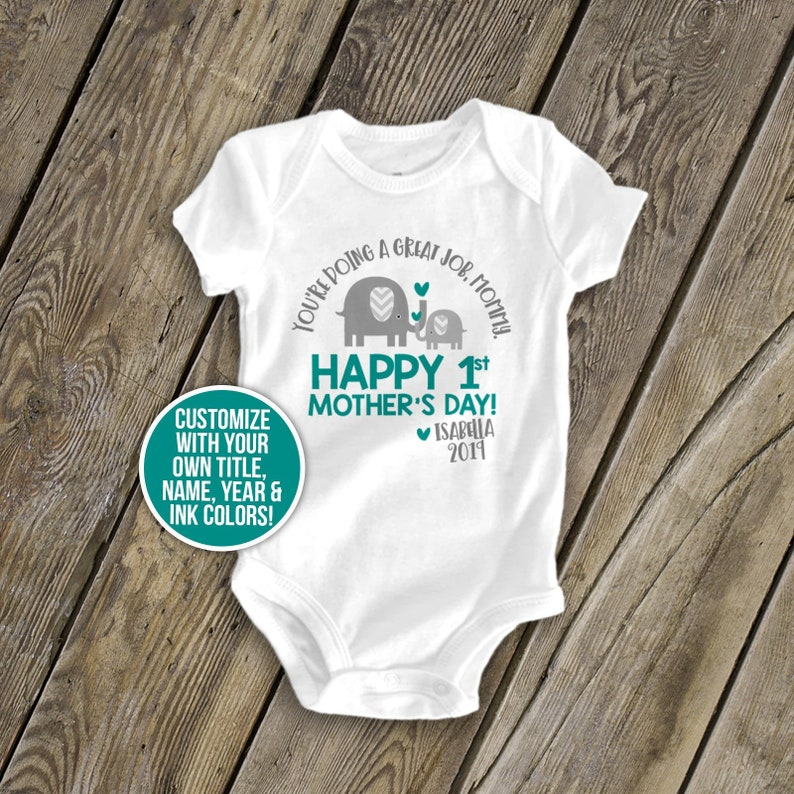 a93603d7f First Mother s Day bodysuit ELEPHANT personalized first