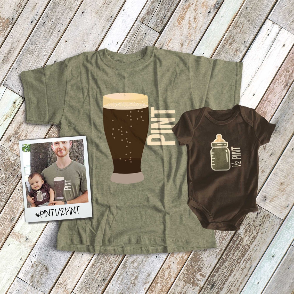 pint half pint matching t-shirts  dad baby father son image 1