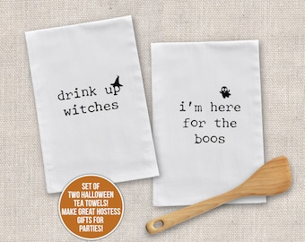 Halloween tea towel set   drink up witches flour sack dish towel   i'm here for the boos kitchen towel set of two hostess gift mtt-013-set