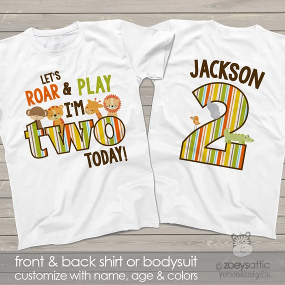 Zoo Jungle Theme Second 2nd Birthday Shirt Lets Roar
