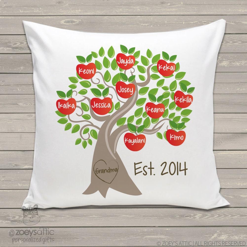 Oma Familie Baum personalisierte Kissen Apfelbaum Kissen große | Etsy