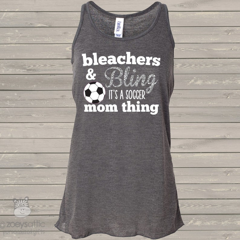 cfe11ea0d5d42 Soccer mom bleachers & bling sparkly DARK flowy tank top - great gift for  birthday or Mother's Day