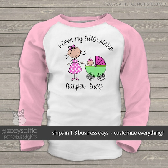 Big Sister Shirt I Love My Little Sister Raglan T Shirt For Etsy