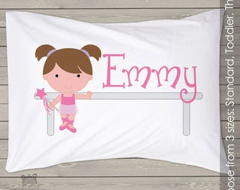 Personalized ballerina pillowcase  - cute ballerina pillow for your little princess PIL-053