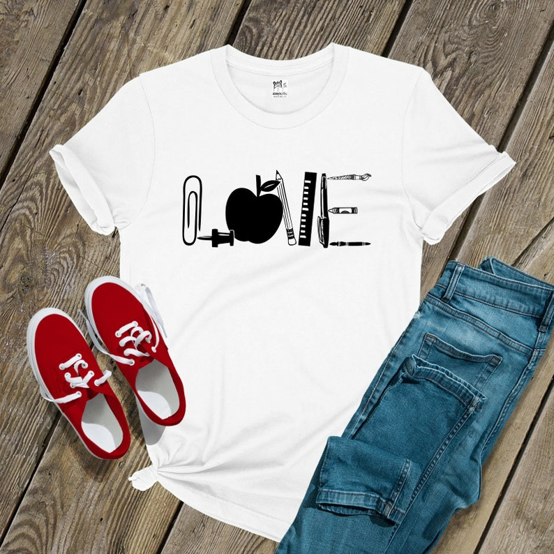 ce1f11de1 Teacher shirt love apple school supplies tshirt back to | Etsy
