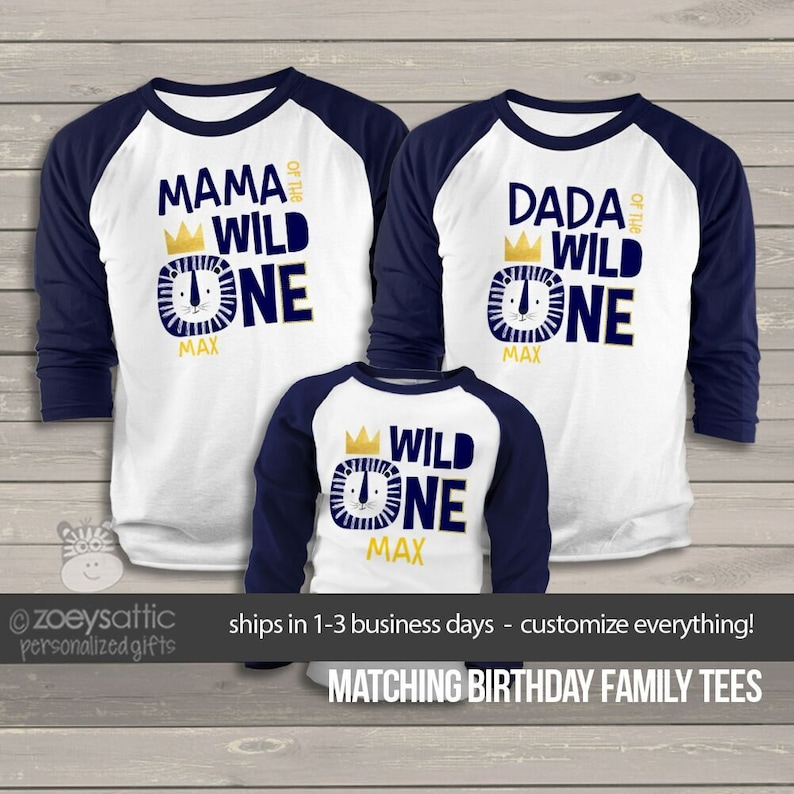 Wild One First Birthday Shirts Matching Lion
