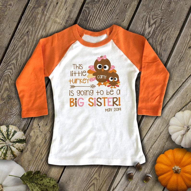 Thanksgiving Big Sister Shirt  Thanksgiving Pregnancy image 0
