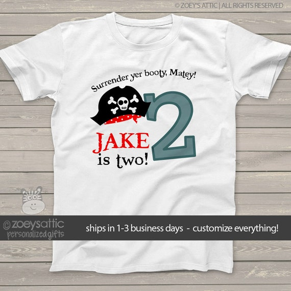 Personalized PIRATE and Pirate Booty Boy or Girl Just Name or Birthday Shirt