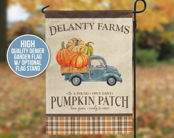 Halloween Garden Flag   pumpkin patch farm autumn garden flag   fall pumpkin farm personalized flag with or without flag stand gdn-flag015