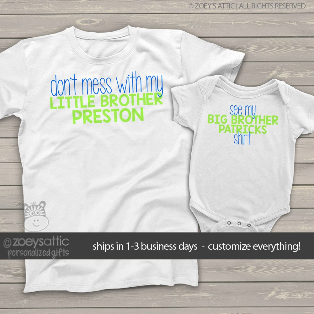 Big Brother Shirt Little Brother Shirt Set Dont Mess Etsy
