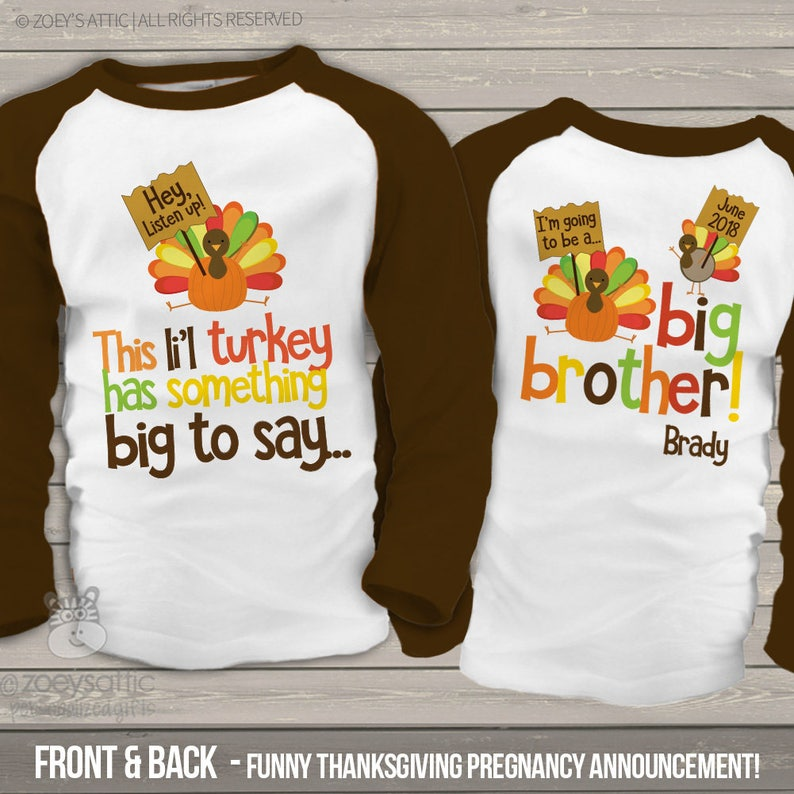 8d264c791 Thanksgiving big brother shirt this li'l turkey is going | Etsy