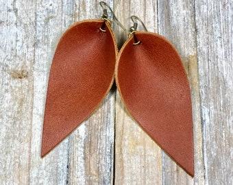 4baa02472 Leather Leaf Earrings, Leather Earrings, Leather, Leaf, Earrings