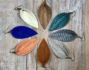 ecbb39477 Leather Earrings, Leather, Leaf Earrings, Braided Earrings, Leather Leaf  Earrings, Choose Color