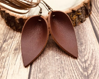 Joanna Earring Leather Earrings Rustic Brown Handmade Leather Earrings Natural Leather Earrings