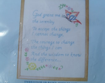 Serenity Prayer Sampler to Embroider kit New 8 X 10 Serenity Prayer