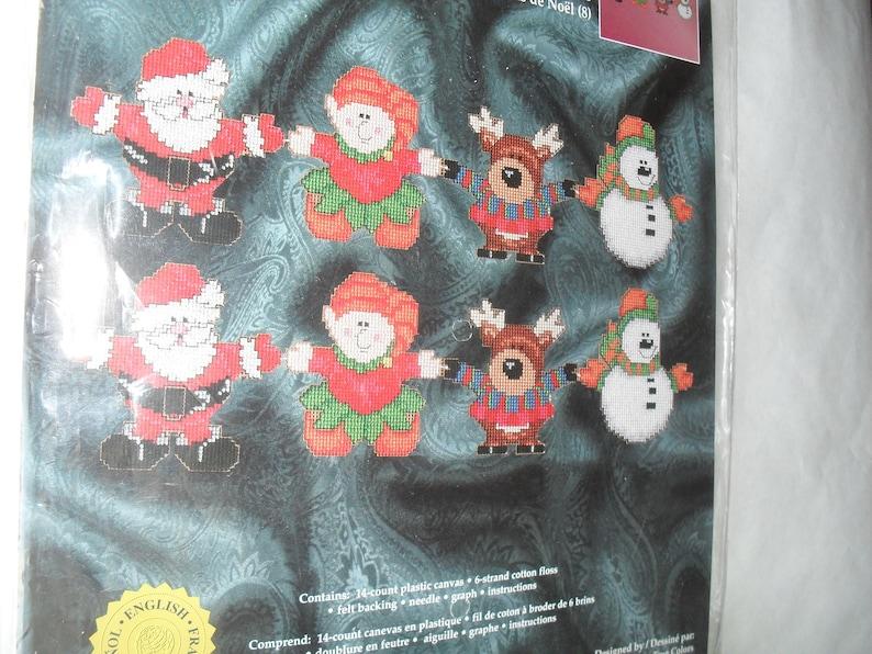 Plastic Canvas Kit Christmas Janlynn Santa Elves Reindeer Snowman 8 Ornaments Christmas Kit