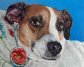 Smart 39 nSassy, custom Pet Portrait Oil Painting by puci, Jack Russell Terrier, 12x16 quot