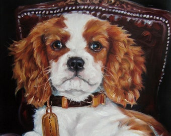"""Pet Portrait, Oil Painting of Your Dog by puci, 12x16"""", Cavalier King Charles Spaniel PIPPA"""