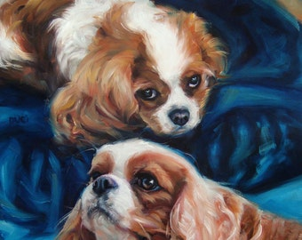 """Damsels-Spaniels, custom Dog paintings, Pet Portrait Oil Painting by puci, 10x12"""" w/2 pets"""