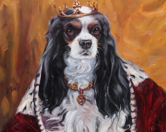 """Cavalier King Charles Spaniel, CUSTOM Pet Portrait Oil Painting by puci, 10x12"""""""