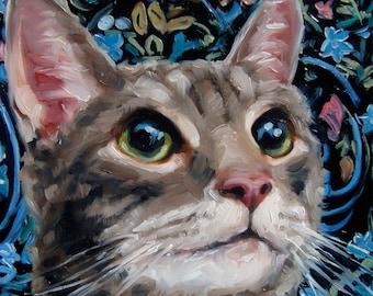 "Cheshire Cat, cat painting, custom Pet Portrait oil painting by puci, 10x10"""