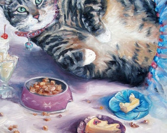 """The Dinner Party, custom Pet Portrait Oil Painting by puci, 12x16"""""""