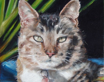 """KittyCabana, Cat Painting Painting of Cats, Custom Cat Portrait Oil Painting, custom Pet Portraits from your photos, Pet Loss, 10x10"""""""