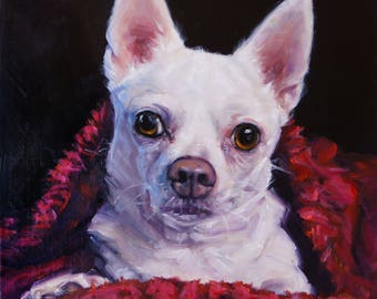 """Upsy-Daisy Chihuahua, custom pet portraits dog paintings, original oil painting by puci, 8x10"""""""