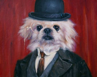 """Professor Pooch, dog painting in costume, custom pet portrait oil paintings by puci, 10x10"""""""
