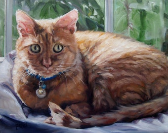 """SunKissed Kitty, CUSTOM Cat Portrait Oil Painting by puci, 10x12"""""""