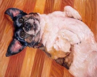 "BellyScratch, Custom Pet Portrait Oil Painting by puci, 16x20"""