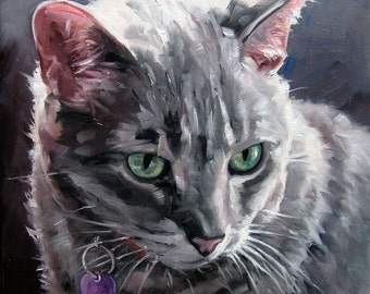 "Salt & PEPPER Kitty, CUSTOM Pet Portrait Oil Painting by puci, 8x8"""