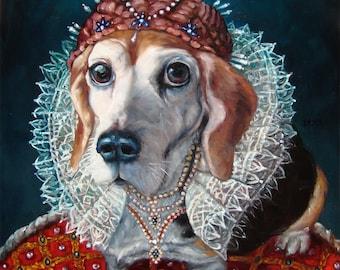 "Regal Beagle, pet in costume, custom Pet Portrait Oil Painting by puci, 16x20"""