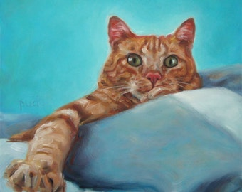 """Mama'sGirl, cat painting, custom pet portrait Oil Painting by puci, 10x10"""""""