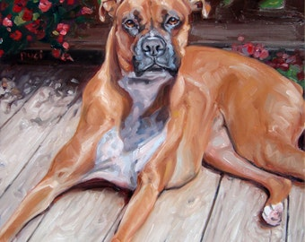 """Boxer On Deck, custom Dog Oil Painting by puci, 12x12"""""""