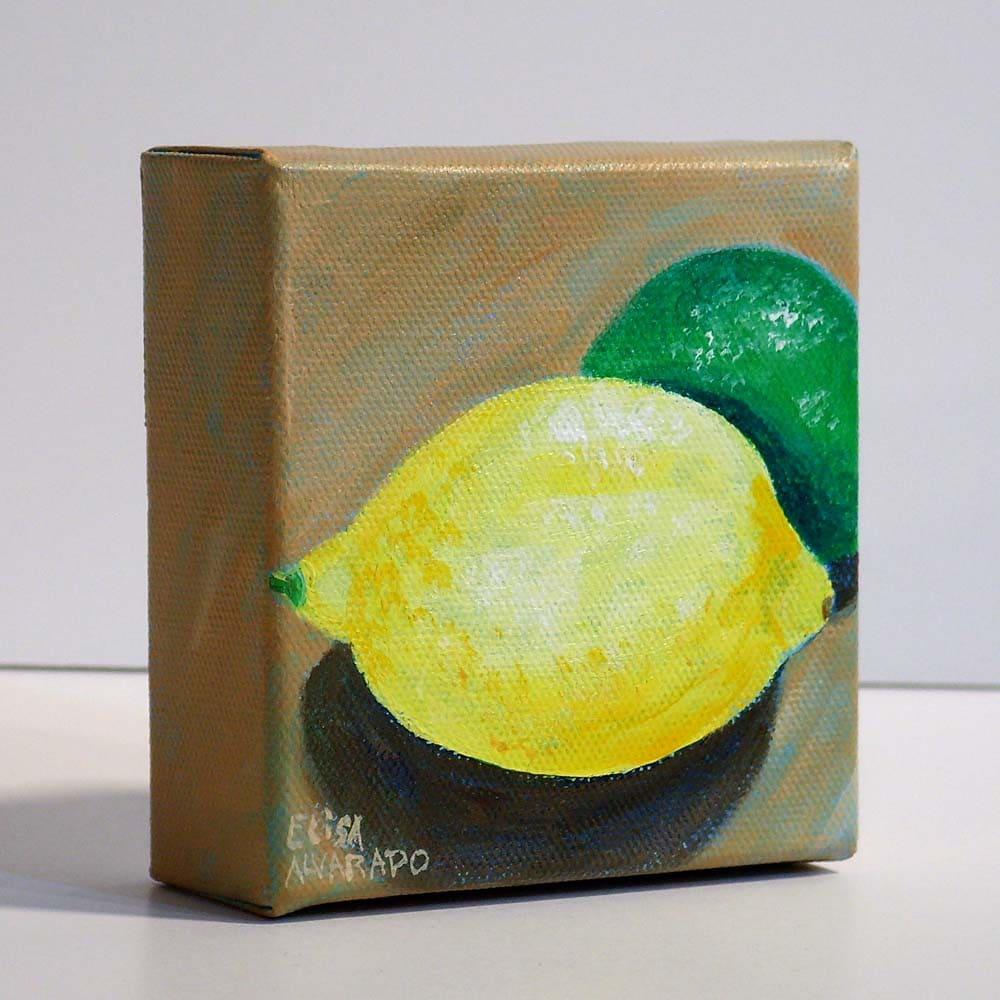 Lemon and Lime Original acrylic painting Citrus fruit | Etsy