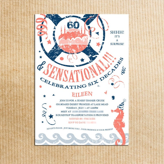 nautical beach theme 60th birthday party invitation coral etsy
