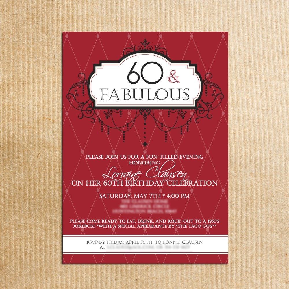 Adult 60th Birthday Party Invitations Stationery by   Etsy